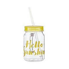 At home with Ashley Thomas - Yellow 'Hello Sunshine' print mason jar