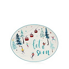 At home with Ashley Thomas - White small 'Let It Snow' Christmas platter