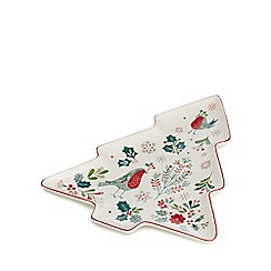 Home Collection - White small Christmas tree platter
