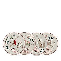Home Collection - Pack of 4 multi-coloured small Christmas plates