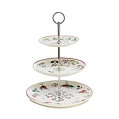 Home Collection - White festive three tier Christmas cake stand