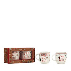 Home Collection - Christmas Pack of 2 white mugs in a gift box