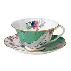Wedgwood - Fine bone china 'Butterfly Bloom' green cup and saucer