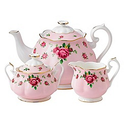 Royal Albert - Fine bone china 'Country Rose' tea pot, sugar pot and cream jug set
