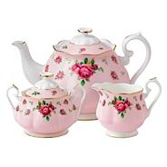 Fine bone china 'Country Rose' tea pot, sugar pot and cream jug set