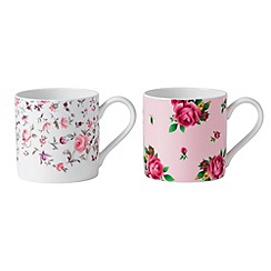 Royal Albert - Set of two fine bone china floral mugs