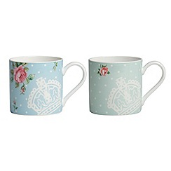 Royal Albert - Set of two fine bone china rose crown mugs