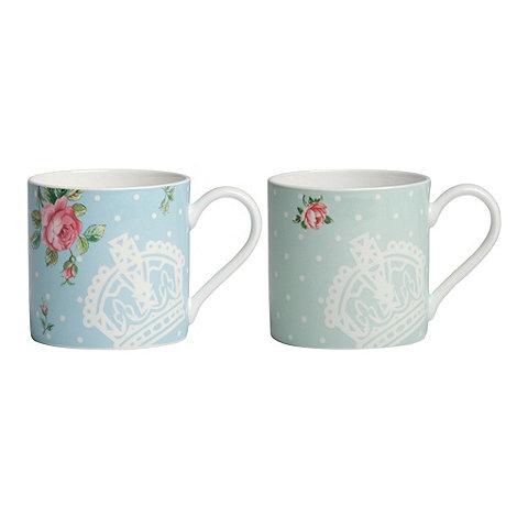 Royal Albert - Set of two fine bone china rose crown mugs