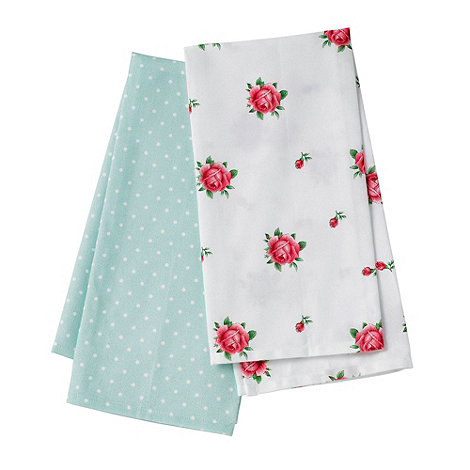 Royal Albert - Set of two +Country Rose+ green dot tea towels