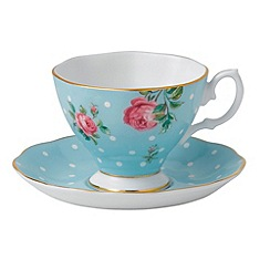Royal Albert - Royal Doulton fine bone china 'New Country Rose' polka dot tea cup and saucer