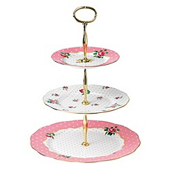 Royal Albert - Royal Doulton fine bone china 'Cheeky Pink' floral cake stand