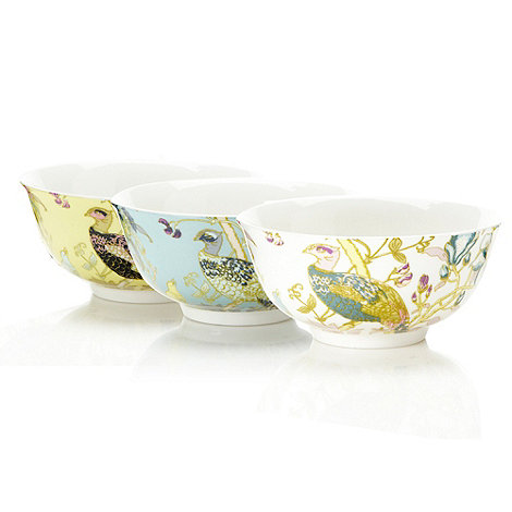 Butterfly Home by Matthew Williamson - Set of three designer fine china peacock bowls