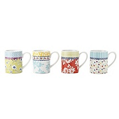 At home with Ashley Thomas - Set of four porcelain 'Heirloom' floral mugs