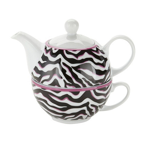 Debenhams - Porcelain pink zebra tea for one