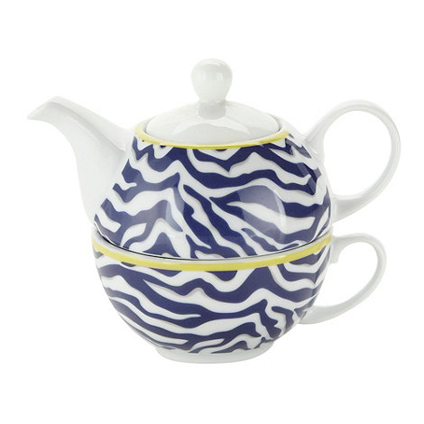 Debenhams - Porcelain indigo zebra tea for one