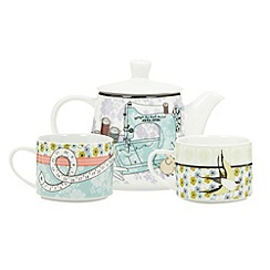 At home with Ashley Thomas - Porcelain lilac sewing design tea for two set