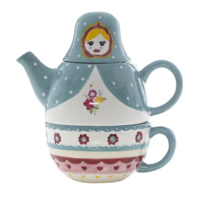 At home with Ashley Thomas Blue stoneware Russian doll e set - . -