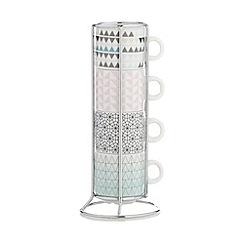 Ben de Lisi Home - Designer set of four porcelain 'Geo' stacking espresso mugs