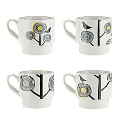 Debenhams - Set of four porcelain bird stacking mugs