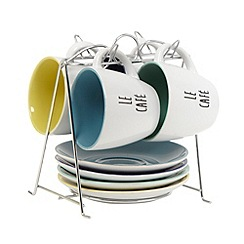 Debenhams - Set of four stoneware 'Le Cafe' espresso cups and saucers