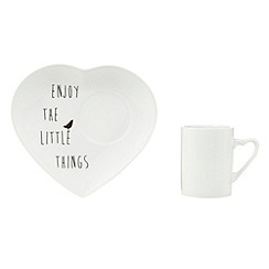 Debenhams - Porcelain 'Little Things' mug and snack plate