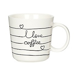 Debenhams - Stoneware embossed 'Love Coffee' mug
