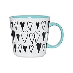 Debenhams - Stoneware teal hearts mug