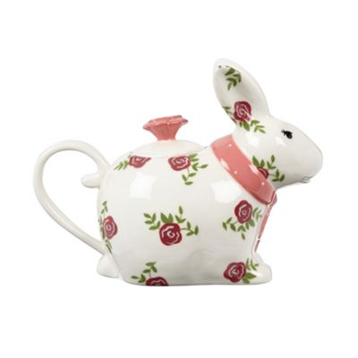 At home with Ashley Thomas Ceramic floral rabbit teapot - . -