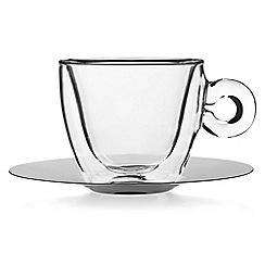 Luigi Bormioli - Set of 2 espresso glass cup and saucer