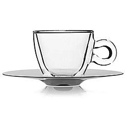 Luigi Bormioli - Set of 2 cappuccino glass cup and saucer