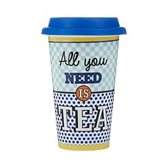 Ben de Lisi Home - Designer blue porcelain travel mug