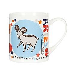 Debenhams - Red 'Aries' zodiac china mug