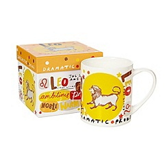 Debenhams - Orange 'Leo' zodiac china mug