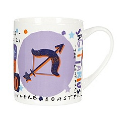 Debenhams - Purple 'Sagittarius' zodiac china mug
