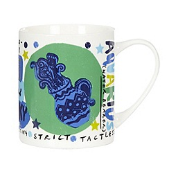 Debenhams - Navy 'Aquarius zodiac china mug
