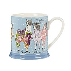 At home with Ashley Thomas - Stoneware blue 'Best In Show' horse mug