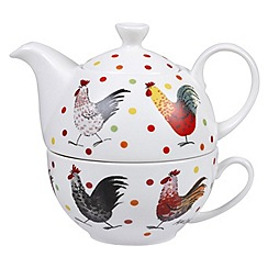 Queens - White 'Rooster' tea for one set