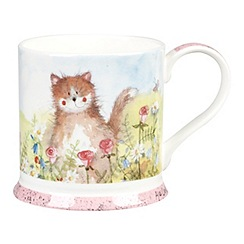 Queens - White 'Meadow Cat' mug