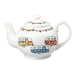 Queens - White 'Festival Caravans' teapot
