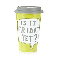 Ben de Lisi Home - Designer porcelain 'Is it Friday?' travel mug
