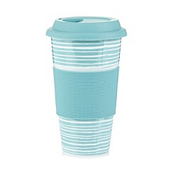 Home Collection Basics - Porcelain light blue striped travel mug
