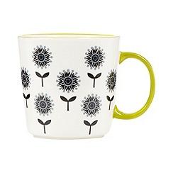 Debenhams - Stoneware lime small floral mug