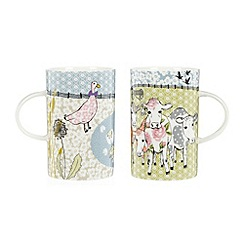 At home with Ashley Thomas - Set of two fine china green 'Farmyard' mugs