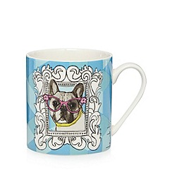 Ben de Lisi Home - Designer fine china blue 'geek chic' dog mug and coaster set