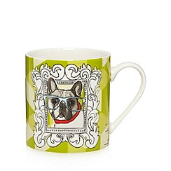 Ben de Lisi Home - Designer fine china green 'geek chic' dog mug and coaster set