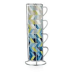 Ben de Lisi Home - Designer set of four porcelain geometric mugs