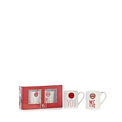 Ben de Lisi Home - Designer set of two 'You Me' mugs