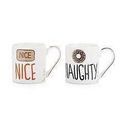 Ben de Lisi Home - Designer set of two 'Nice Naughty' mugs