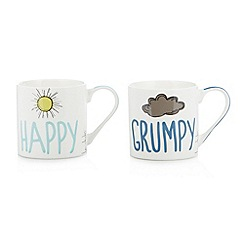 Ben de Lisi Home - Designer set of two 'Happy Grumpy' mugs