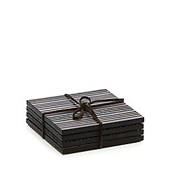 RJR.John Rocha - Designer set of four dark brown etched wood coasters